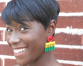 Duafe (studs) // Adinkra // Afrocentric // Natural Wood Hand Painted // African and Caribbean Inspired Jewelry