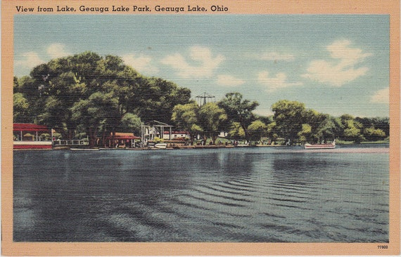 Geauga Lake Park Ohio View of Amusement Park 1940's to 50's linen Vintage