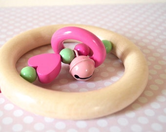 Wooden teether, wood toy, baby rattle, rattle teether, rattle, baby gift