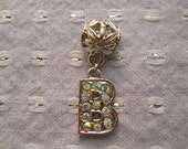 """Silver and Rhinestone Initial """"B"""" Dangle Charm - large hole for euro style charm bracelets"""