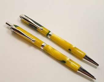 Green and Yellow Swirl Pen and Pencil Set