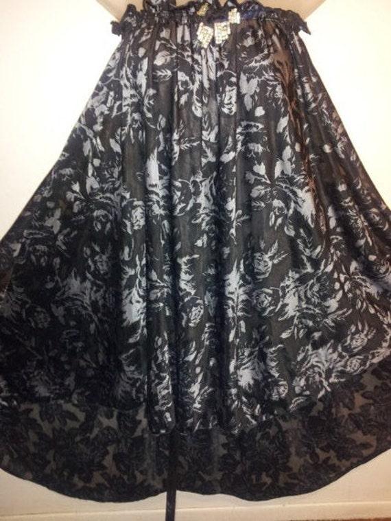 blackwith metalic silver rose flower dress