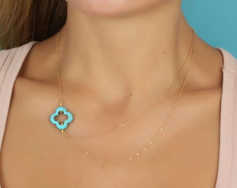 Layered Gold necklace / Turquoise clover necklace / Bridal necklace / Asymmetrical necklace / Clover necklace / Simple gold jewelry | Erato