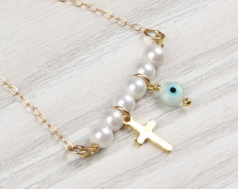 "Evil eye necklace, pearl necklace, gold cross necklace, tiny pearl necklace, gold filled necklace, bridesmaid jewelry, cross pendant, ""Iasis"