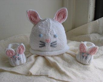 Bunny Rabbit Baby Hat and Booties Set