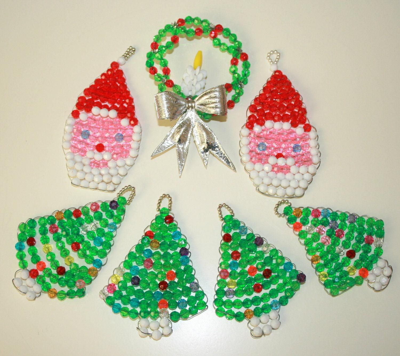 Vintage Handmade Beaded Christmas Ornaments