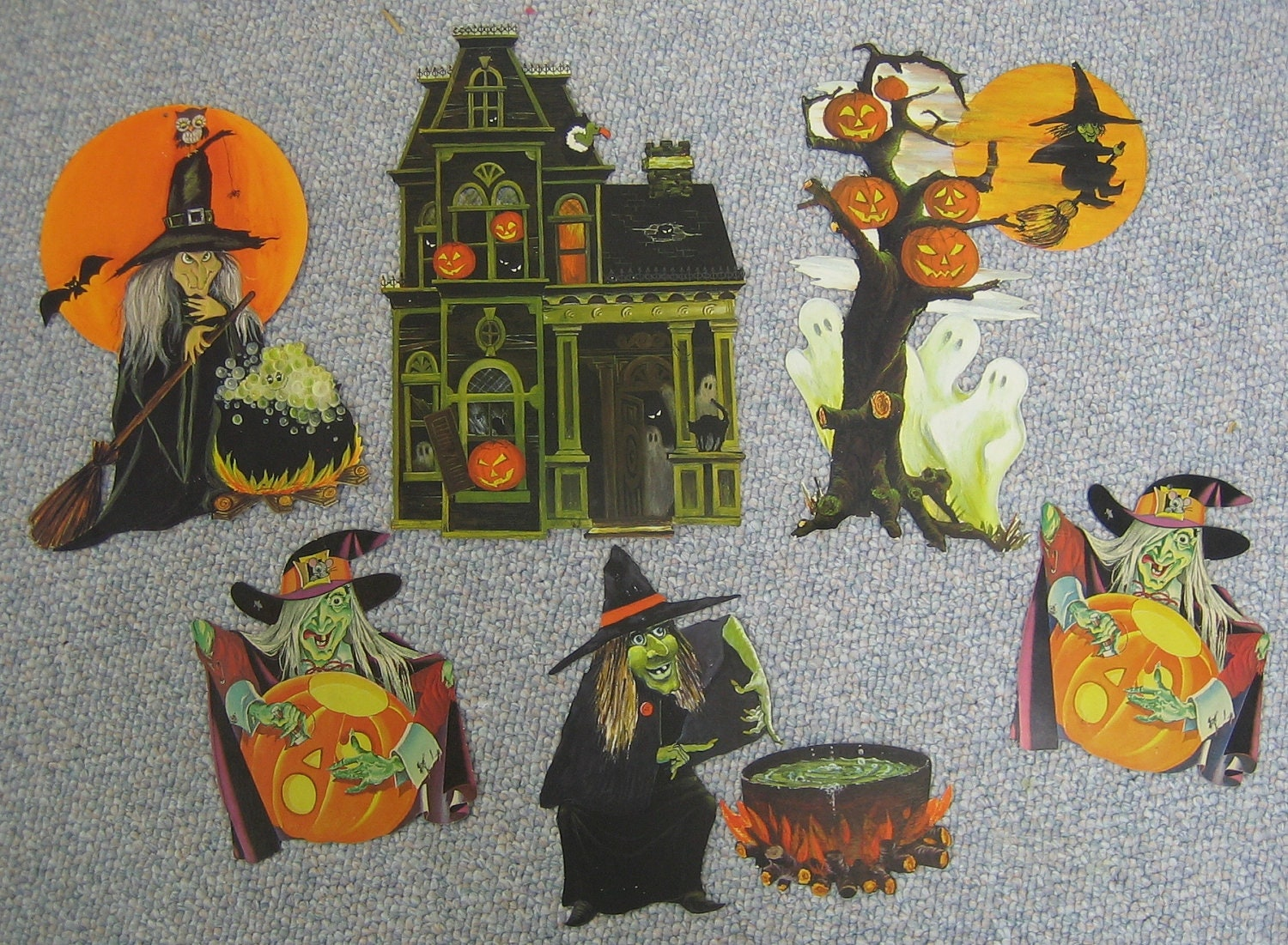 vintage halloween decorations witches zoom - Hallmark Halloween Decorations