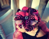 Handmade fabric flower headband - pink and black damask - baby - teen - newborn - infant - photo prop - hair accessories