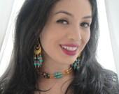 Breath of Amun Ra:   Necklace - Persian Turquoise & Egyptian Lapis Gemstones - Gold Filigree