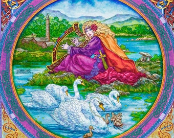 Celtic Art Print The Children Of Lir. The Singing Swans. Signed Open Edition Print 8x11. Fine Art, Fantasy Art, Irish, Ireland, Painting.