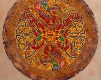Fine Art Print Celtic Mandala Red Beard Pullers 8x11. Celtic Art, Irish Art, Celtic knot, Celtic Designs, Ireland art, Print, Fine Art.