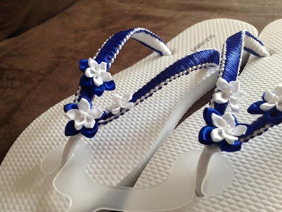 Flip flops - handmade - dark blue and white - macrame - ribbon - flowers