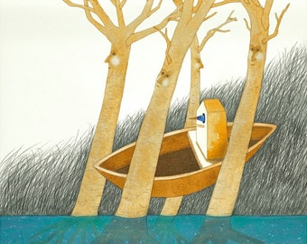 The Journey of Mr. Tweet - original watercolor painting - surreal fantasy fairytale watercolour - bird birdhouse boat trees - illustration