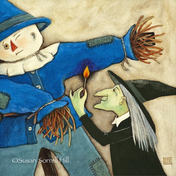 Burning (Wizard of Oz) - original watercolor painting - surreal fairy tale art - wicked witch and scarecrow