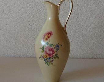 Vintage Alka Bavaria Germany Handled Vase Rose