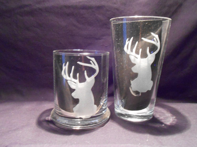set of 4 sandblasted drinking glasses rock size by endlessetching. Black Bedroom Furniture Sets. Home Design Ideas