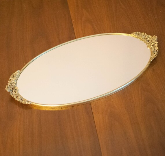 Stylebuilt Vintage Ormolu Gold Mirror Vanity Tray By