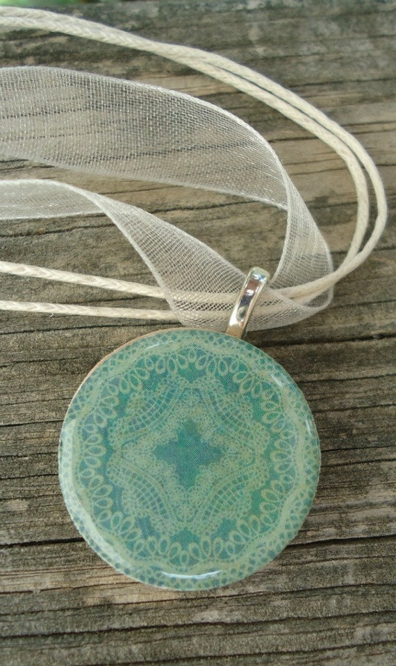 Antiqued Teal Blue Round Wood Pendant Necklace