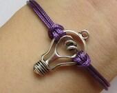 Electric Bulb Bracelet---Antique Silver Unique Electric Bulb Pendant & Purple Snake Skin Rope Chain-D002