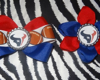 Sporty Bottlecap Bowtie Set Football Houston Texans Hair Bow on Lined Alligator Clip