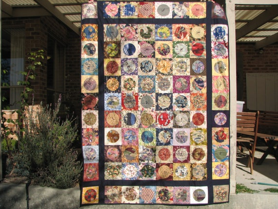 Japanese circles, tied quilt or wall hanging