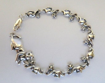 Sterling Silver Mother Cat with Kittens Bracelet