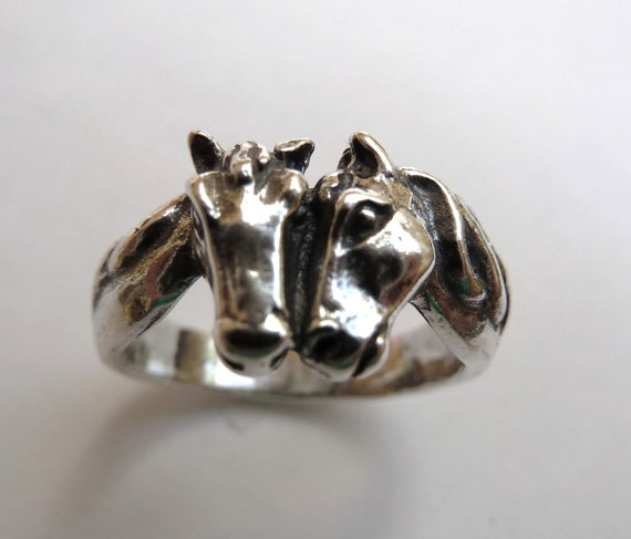 Sterling Silver Two Horse Head Ring