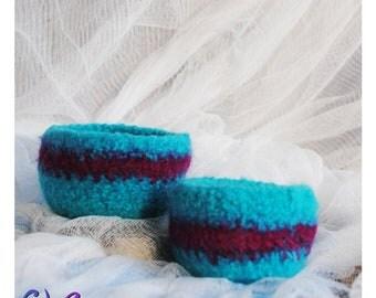 Teal Bowls felted bowls blue felted pink set of two handmade DeeVinci
