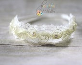 Pearl Fairy Halo Flower Headband in Cream - Newborn Baby Prop