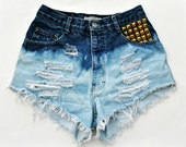 HIGH WAISTED SHORTS bleached distressed & studded