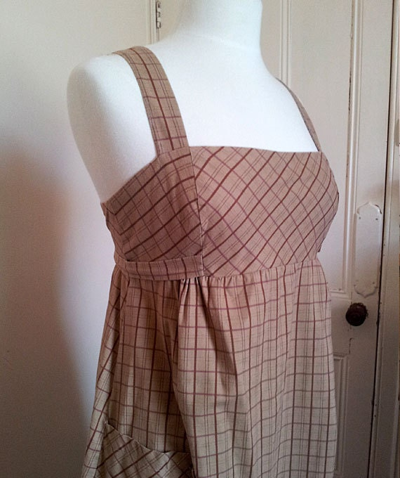 Checkered Pinafore with Ties 1970