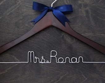 Wedding Hanger, Bridal Hanger, Wire Hanger, Name Hanger, Bridal Gift, Shower Gift, Bridesmaid Gift, Wire Name Hanger, Nautical Wedding