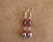 Lilac and silver pierced dangle earrings. 2 inches in length.