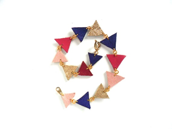 Geometric leather bracelet in purple, pink and gold triangles