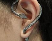 Pierced Snake Ear Cuff-Silver