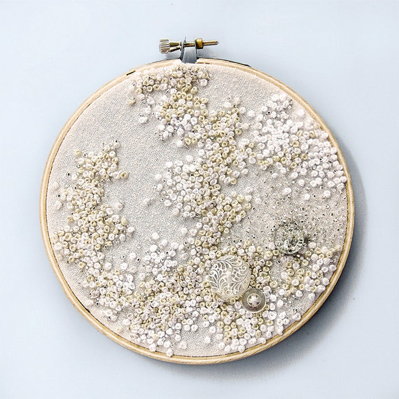 Pure White - Embroidered Hoop Art - French Knots and Vintage Buttons