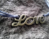 Gray Love Bracelet Friendship Bracelet Antiqued Bronze Love Charm Bracelet Jewelry