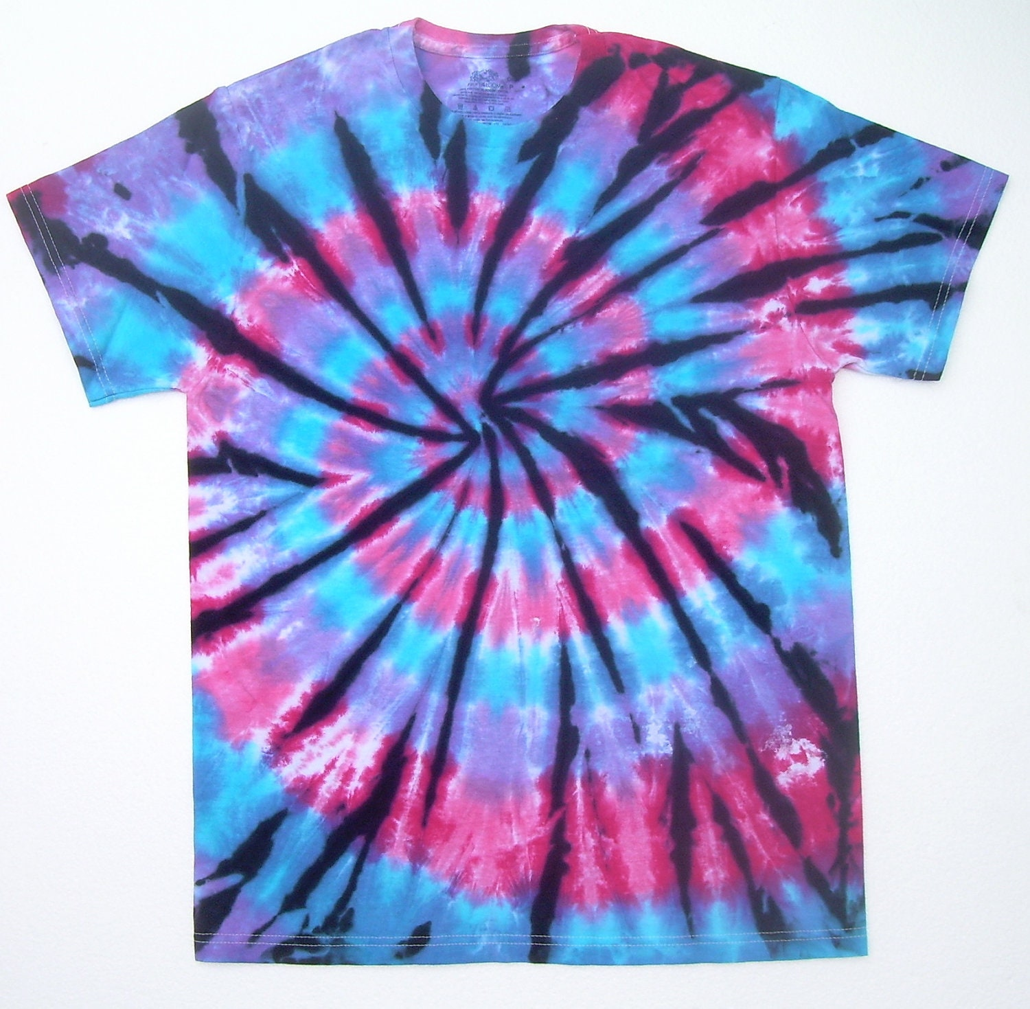 On sale adult small tie dye shirt pink purple blue spiral for Black and blue tie dye t shirts