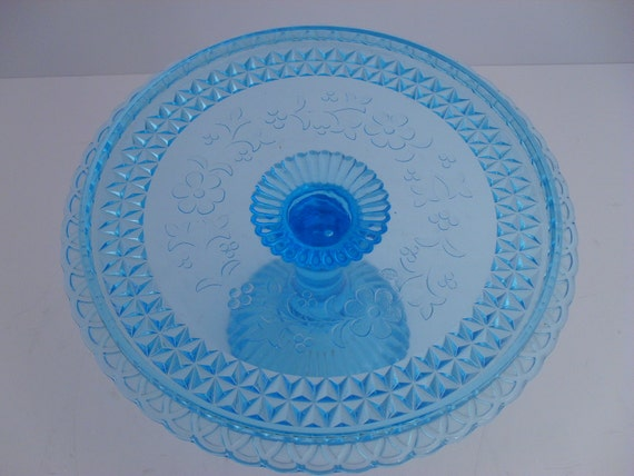 Adams Amp Co Eapg Wildflower Blue Pedestal Cake Stand C 1870s