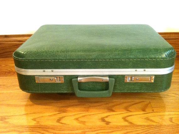 Vintage / green suitcase  / artist box  / travel bag / sundry box / supply box /  prop /