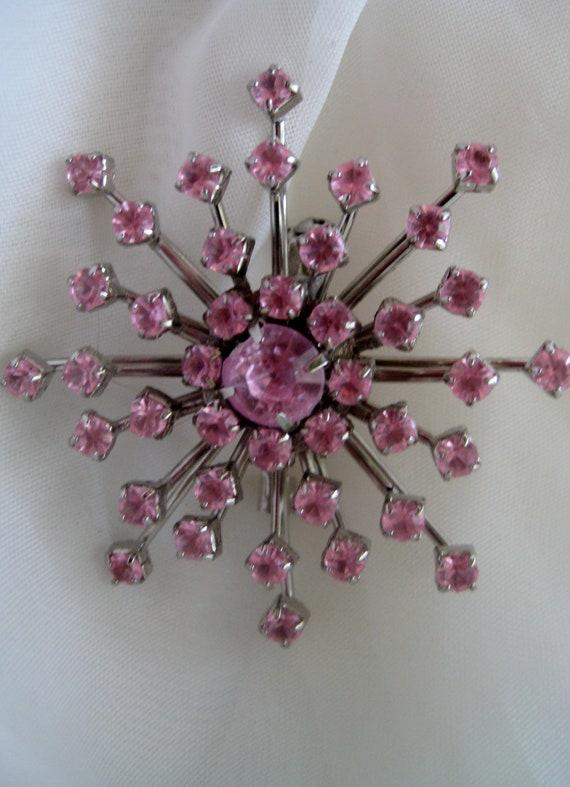 Pink Star Vintage Rhinestone Brooch Pin