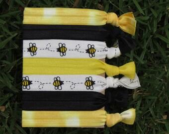 7 Pack Bumble Bees Black Yellow Tie Dye Animal Cartoon Print Hair Ties Stretch Fold Over Elastic FOE Pony Holder Bracelet 112