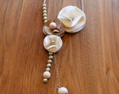 Felt and Leather Necklace, Asymmetric Trio Flora Extended, Neutrals