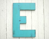 Wooden Letters 24 inch E Rustic Wedding Guestbook Large Distressed Blue Large Wall Decor Gifts