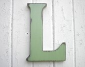 "Wooden Letters Pale Green L 12"" Big Dorm Letter Kids Wall art Nursery Cabin Cottage Rustic Decor"