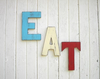 EAT Letters Sign Big 12 inch letters Retro Americana Patriotic Red White Blue Wooden Kitchen Decor Word Art Wall Decor