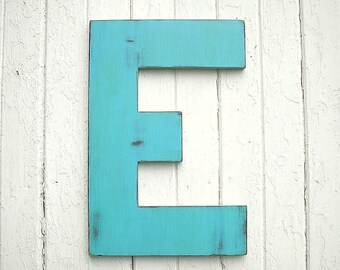 Wedding Guest Books alternatives Wooden Letters 24 inch E Rustic Shabby chic Large Letter Distressed Blue Large Wall Decor Gifts