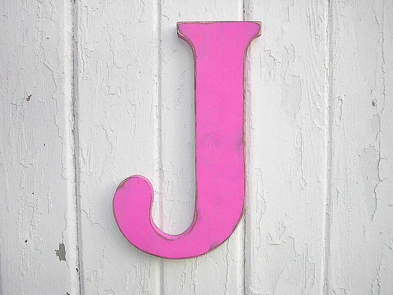 Letter J Wall Art Rustic Wooden Letter J 12 Girls Wall Decor Art Fuchsia