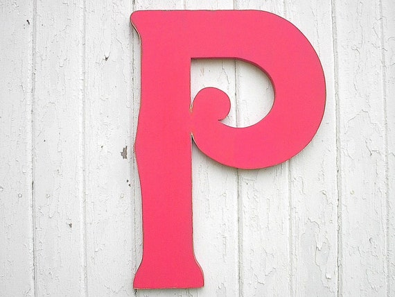 Wooden Letters P 24 inch Decorative Large Distressed Pink Kids