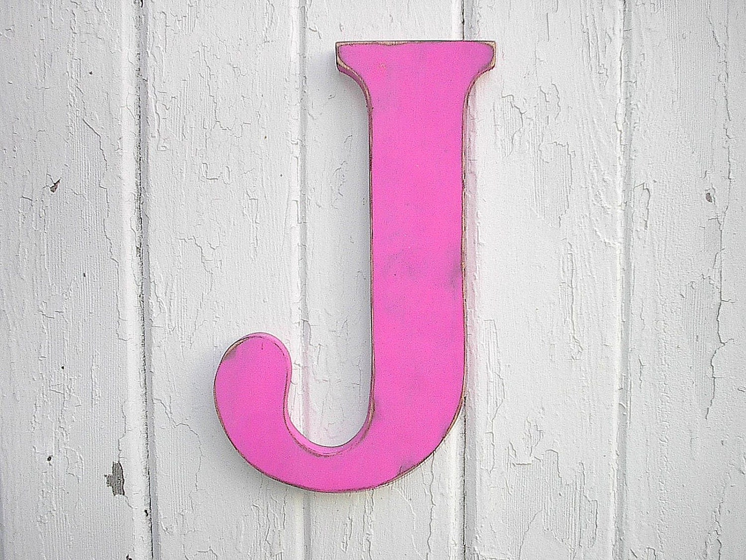 Rustic wooden letter j 12 girls wall decor art fuchsia - Wood letter wall decor ...